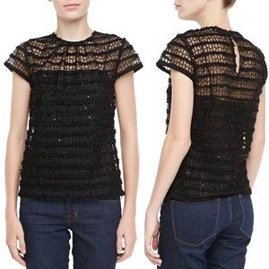Milly Lace Cap Sleeve Black Top